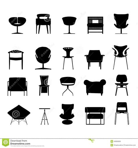 stuhl piktogramm chair icons set great for any use vector eps10 stock