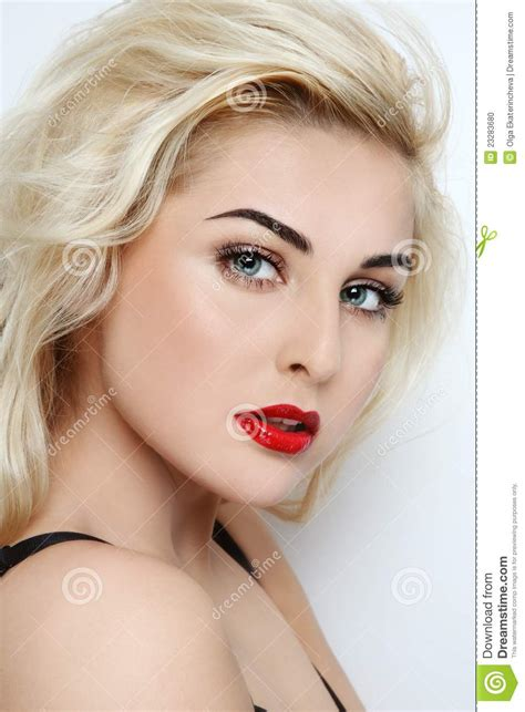 blonde girl with red lipstick blonde stock photo image 23283680