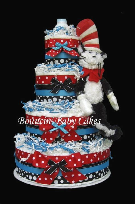 Cat In The Hat Baby Shower Decorations by 4 Tier Dr Seuss The Cat In A Hat Cake