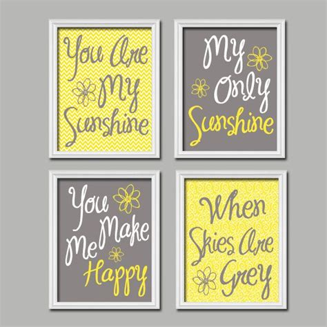 Grey And Yellow Wall Decor by Yellow Gray Nursery You Are Wall Canvas