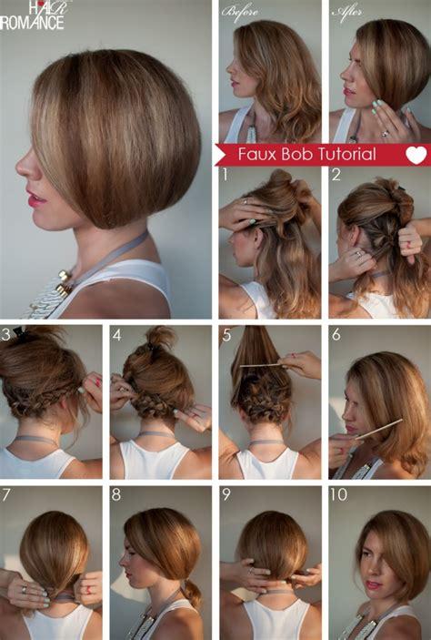 bob hairstyles tutorial hair tutorial how to create a faux bob hair romance
