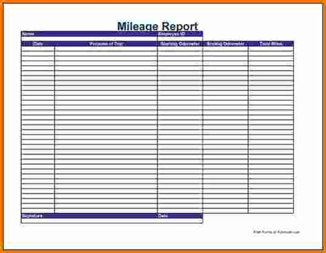 mileage expense report template excel mileage log template printable mileage log templates pdf