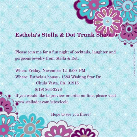 stella and dot invitation templates esthela s stella dot trunk show invitations