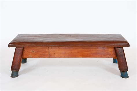 french for bench french leather and wood gym bench at 1stdibs