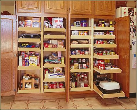 Diy Kitchen Pantry Cabinet Plans by Brown Polished Oak Wood Pul Out Storage Oantry With Chrome Metal Trays Using Stell Door Handle