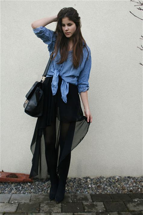 blue denim h m shirts black bags black maxi skirts