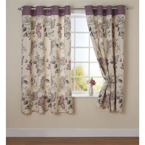 curtains print wilko rose print eyelet curtain grey 167 x 137cm at wilko com