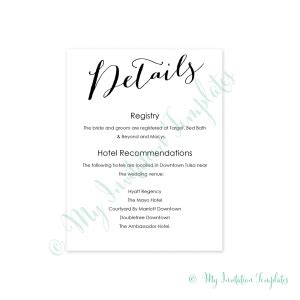 wedding guest information card template information cards archives my invitation templates for