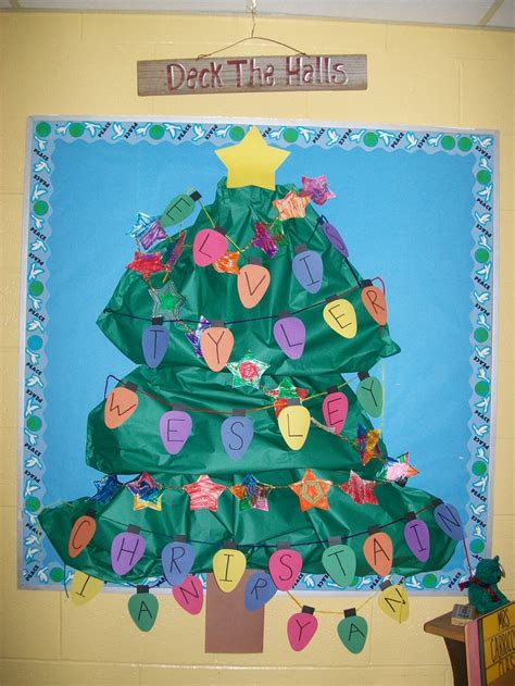 christmas tree bulletin board 3 d tree with star garland