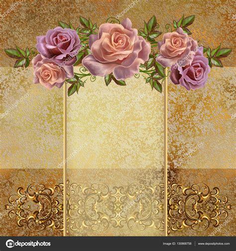 imagenes de rosas vintage fondo vintage dorado guirnaldas de flores de rosas pastel