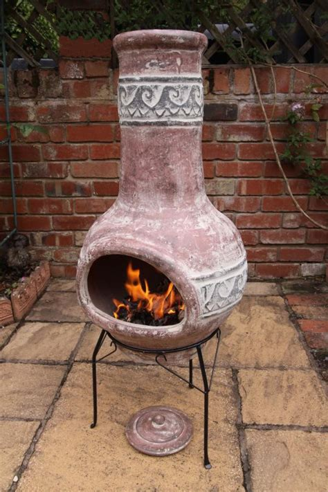 large clay chimenea large clay wave chiminea patio