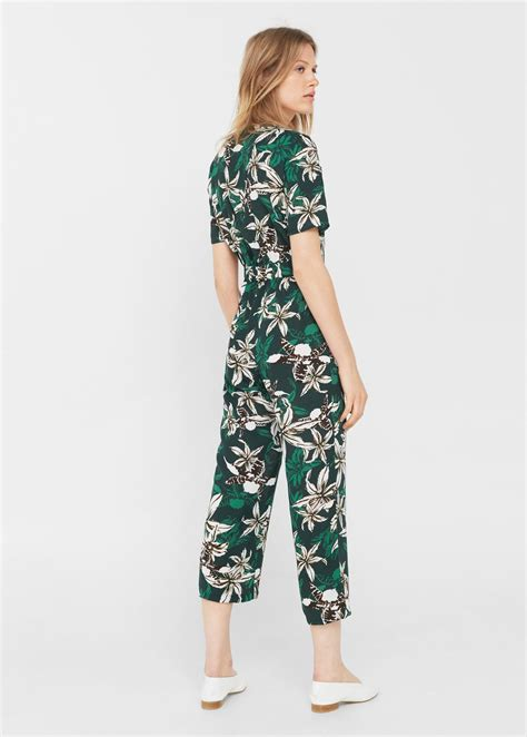 Tropical Print Jumpsuit lyst mango tropical print jumpsuit in green