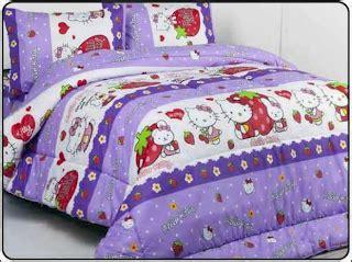 Bed Cover Set Hello Ungu 180x200 T3010 borneo butik motif hello ungu