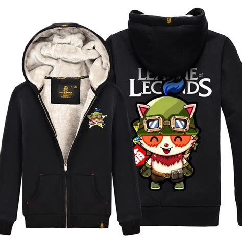 Hoodie League Of Legends World Logo 55 lol league of legends teemo logo thick zip up jacket hoodie league