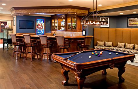 basement tables bar with built in banquet style seating pool table traditional basement philadelphia