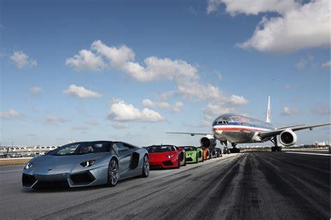 lamborghini aventador roadsters take to miami airport