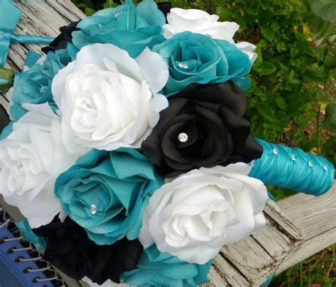 Malibu Blue Black White Rose Wedding Bouquet, Malibu Blue