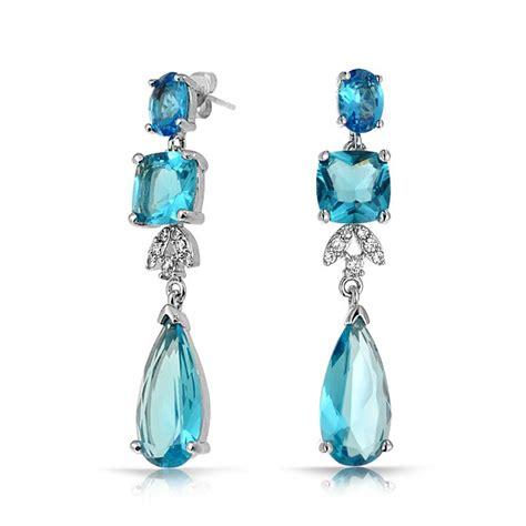 Topaz Chandelier Earrings Blue Topaz Color Cz Square Teardrop Cz Bridal Chandelier