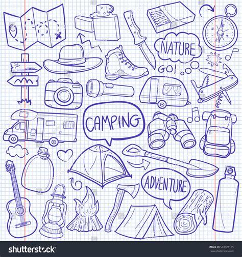doodle adventure cing cer adventure doodle icon vector stock vector