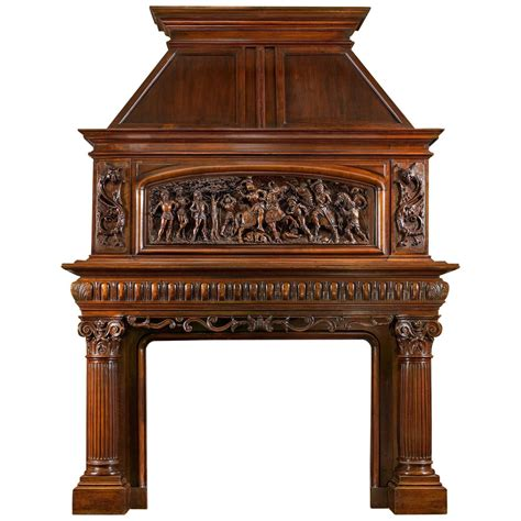 19th century antique fireplace mantel carved in