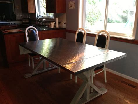 Handmade Kitchen Tables - handmade custom hammered stainless steel dining table by