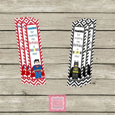 printable batman bookmarks lego super hero superman batman birthday thank you
