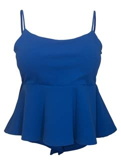 Lace Up Cropped Knit Tank Top plus size cropped lace up peplum tank top royal blue