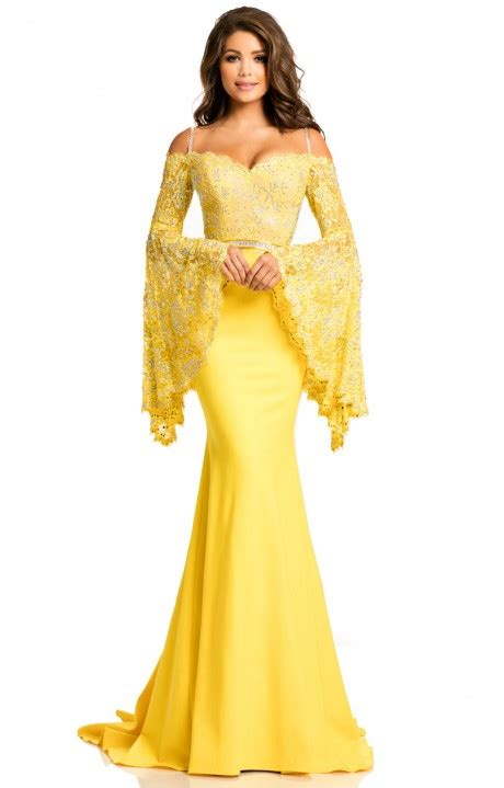 johnathan kayne  long fitted   shoulder prom dress
