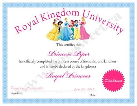 princess diploma or certificate printable sweetparties