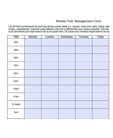 free time chart 27 free time chart