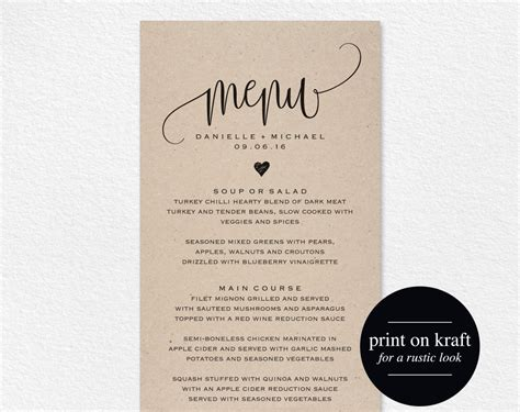 Rustic Wedding Menu Wedding Menu Template Menu Cards Menu Menu Card Template