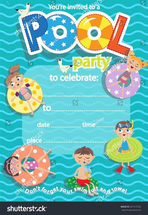swimming pool invitations templates pool invitation template card stock vector