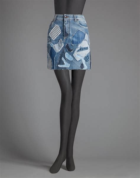 Patchwork Denim Skirt - dolce gabbana patchwork stonewashed denim skirt in blue
