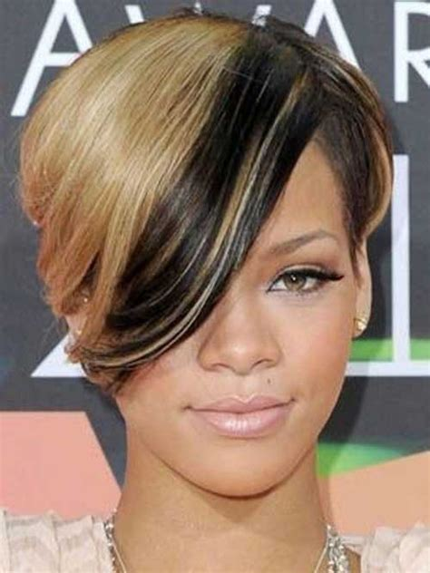 hairstyles blonde in front black in the back new rihanna blonde short hair short hairstyles 2016