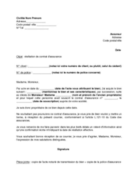 modele lettre resiliation responsabilite civile