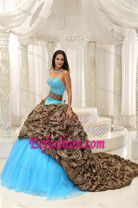 Leopard and Organza Beading Decorated Sweetheart Sweet 16