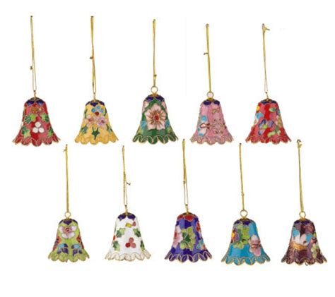 set of 10 cloisonne bell christmas ornaments qvc com