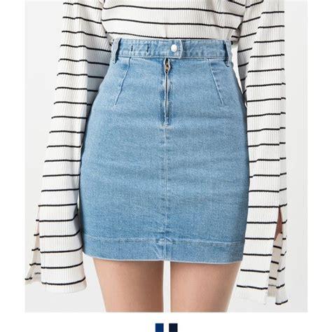 High Waisted Skirt Blue best 25 denim mini skirt ideas on