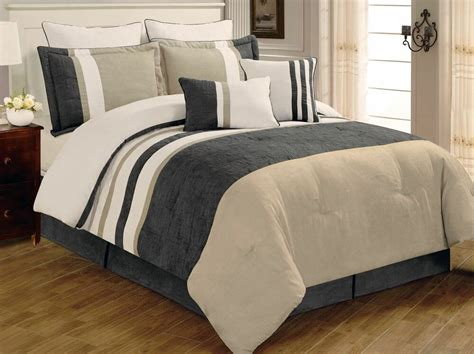 King Bedding by 8 Pc Grey Beige White Striped Micro Suede Cal King