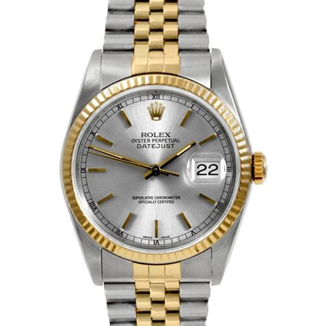 pre owned rolex mens two tone datejust silver stick
