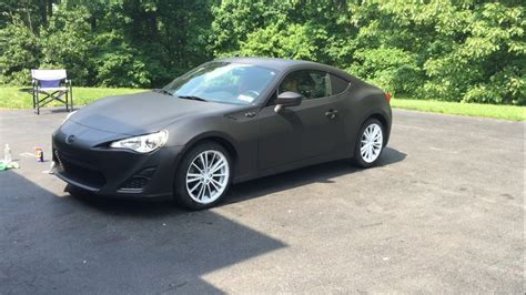 frs car black matte black whole car plasti dip with matte white wheels