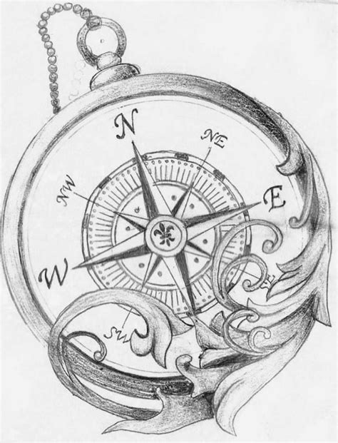 compass tattoo sketch pocket compass coloring pages