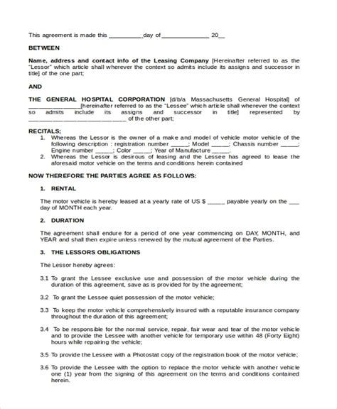 sample lease purchase agreement forms   ms word