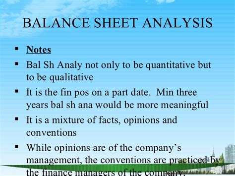 Mba Quantitative Analysis Notes by Balance Sheet Analysis Ppt Bec Doms Bagalkot Mba Finance