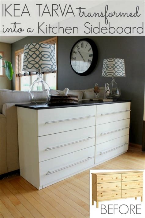 sideboard behind sofa ikea tarva transformed into a kitchen sideboard all