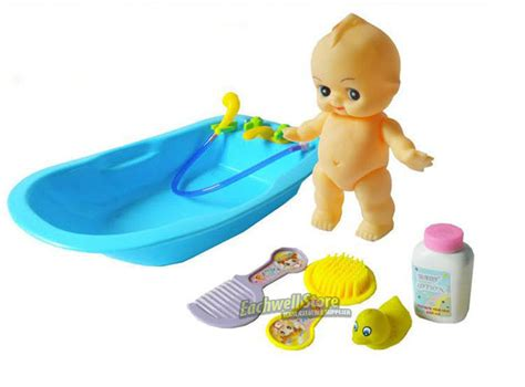 baby doll bathtub baby doll in bath tub with duck bathroom accessories set kids pretend play toy ebay