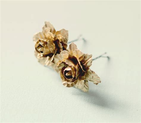 gold flower clips golden clips bridal clips by whichgoose