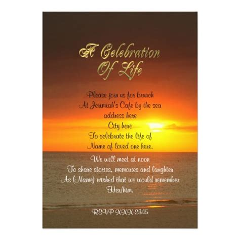 Personalized A Celebration Of Life Invitations Custominvitations4u Com Celebration Of Invitation Template