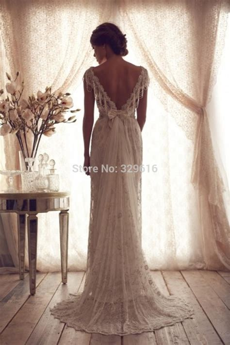 Lspowg65 Wedding Dress Quality high quality 2014 vintage sheath wedding dresses sheer cbell lace bridal gowns backless