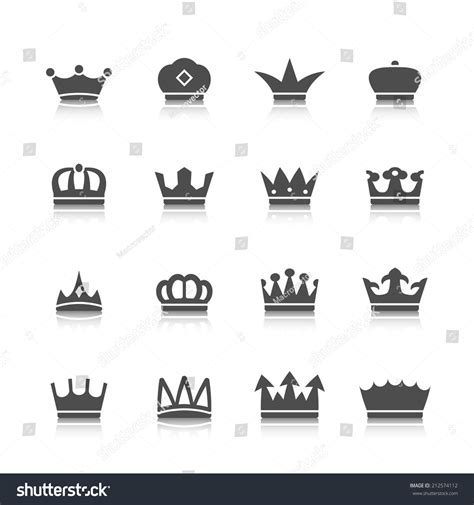 decorative prince princess king type crowns stock vector
